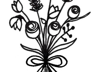 320x240 Easy Flower Bouquet Drawing Step