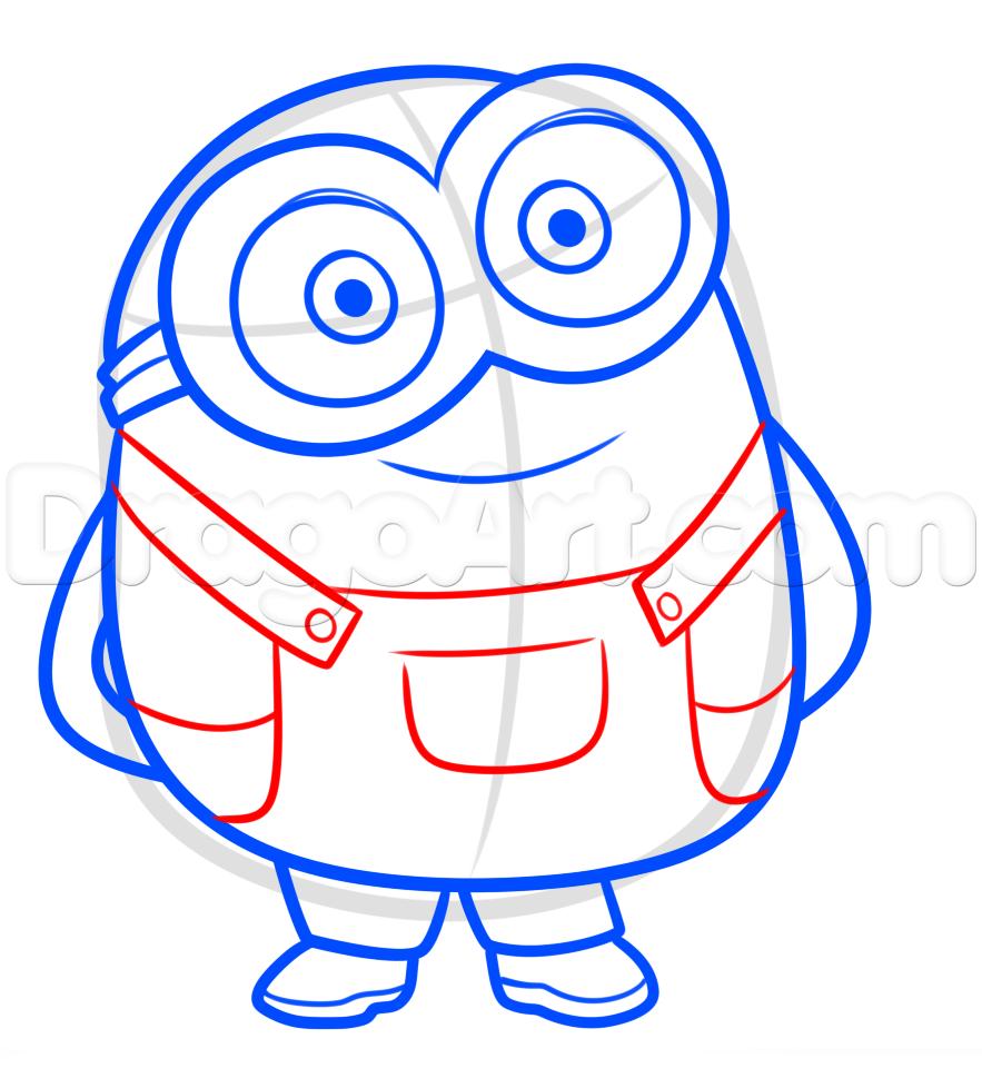 883x978 Draw Bob From Minions, Step