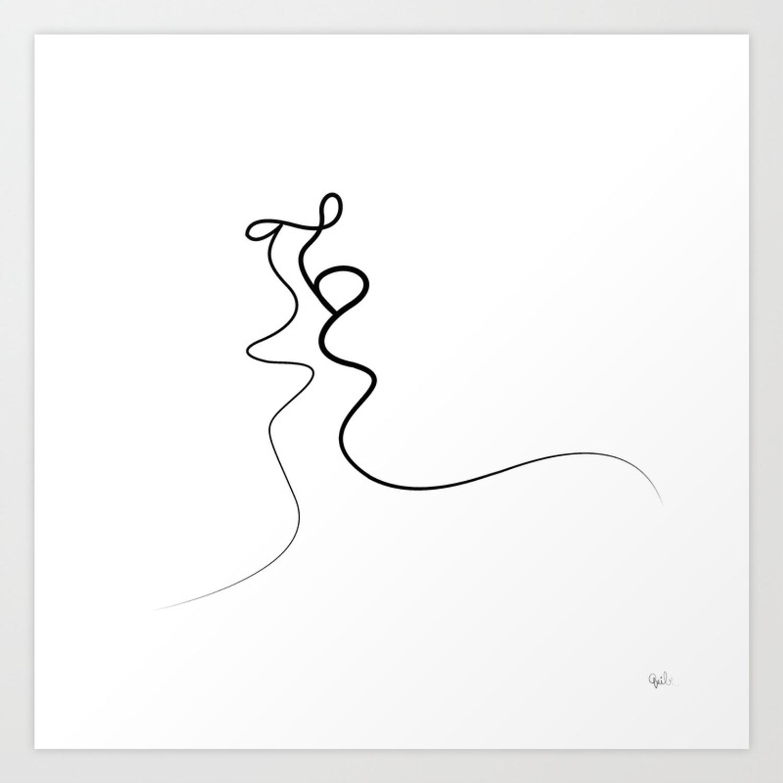 1500x1500 Kiss On White Art Print