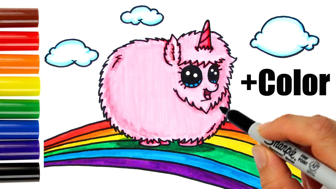 1280x720 How To Draw + Color Pink Fluffy Unicorn Dancing On Rainbow Step
