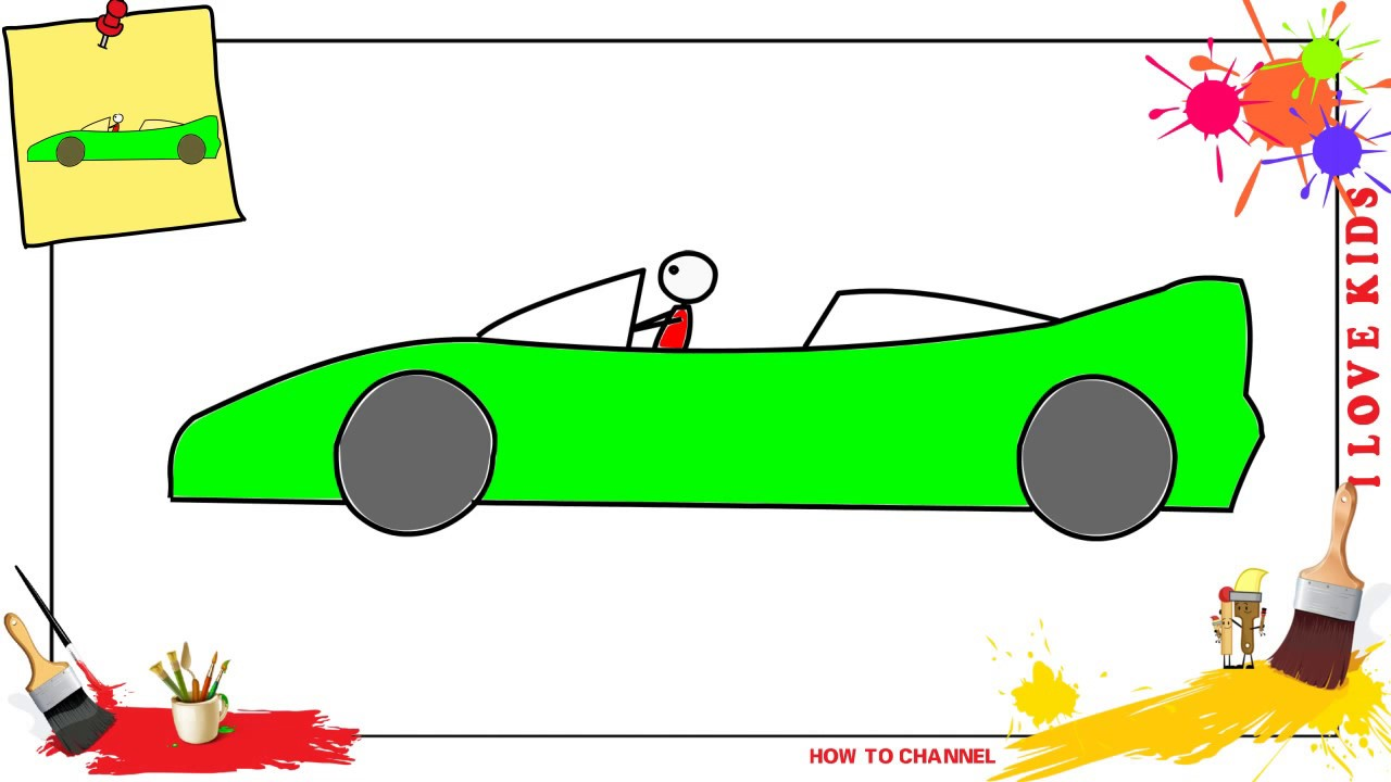 1280x720 How To Draw A Race Car Easy Simple Step