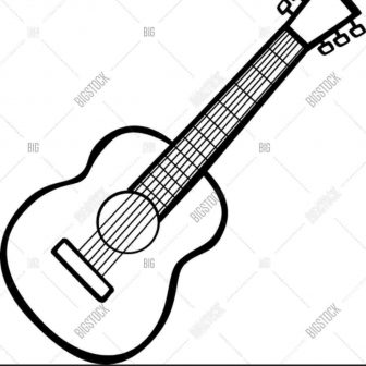 336x336 Guitar Drawing Image Autocad Bass Easy Pencil Black And White Png