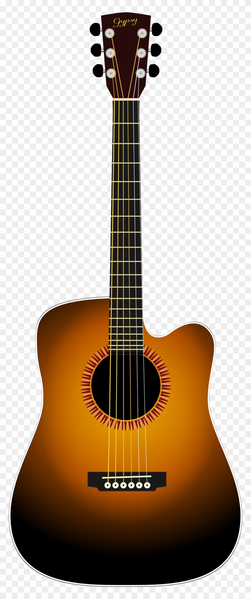 840x2001 Musical Instrument Brown Black Acoustic Guitar Drawing