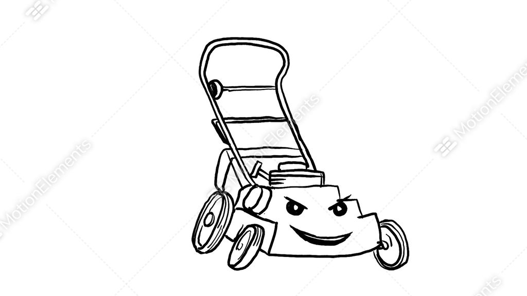 1024x576 lawn mower cartoon drawing animation stock animation