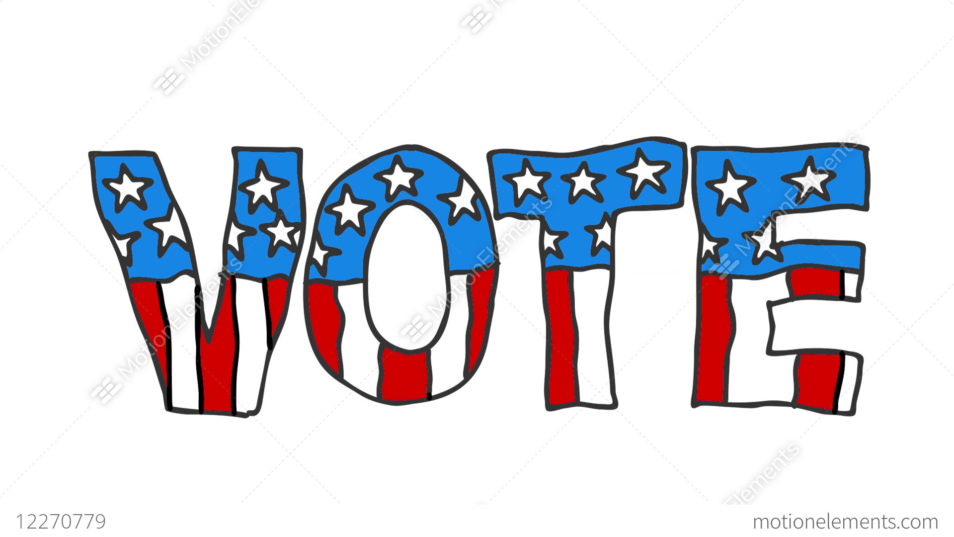 1920x1080 american vote drawing animation stock animation