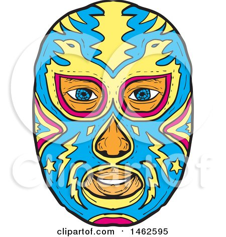 450x470 Blue And Yellow Eagle Luchador Face Mask, In Drawing Sketch Style