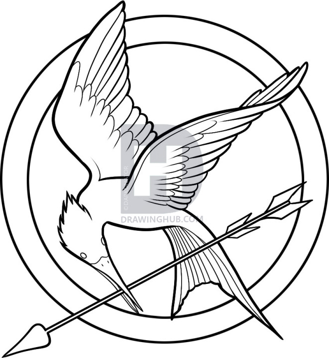 661x720 how to draw hunger games, the hunger games logo, step