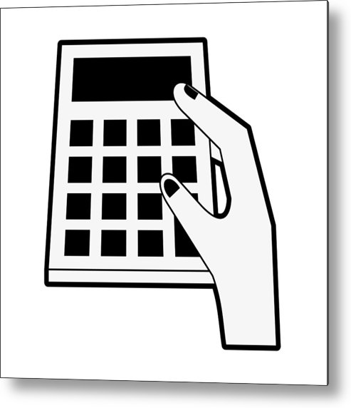 493x572 Hand Holding A Calculator Metal Print