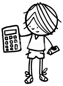 220x299 Boy Holding A Calculator With Pencil Stock Vectors
