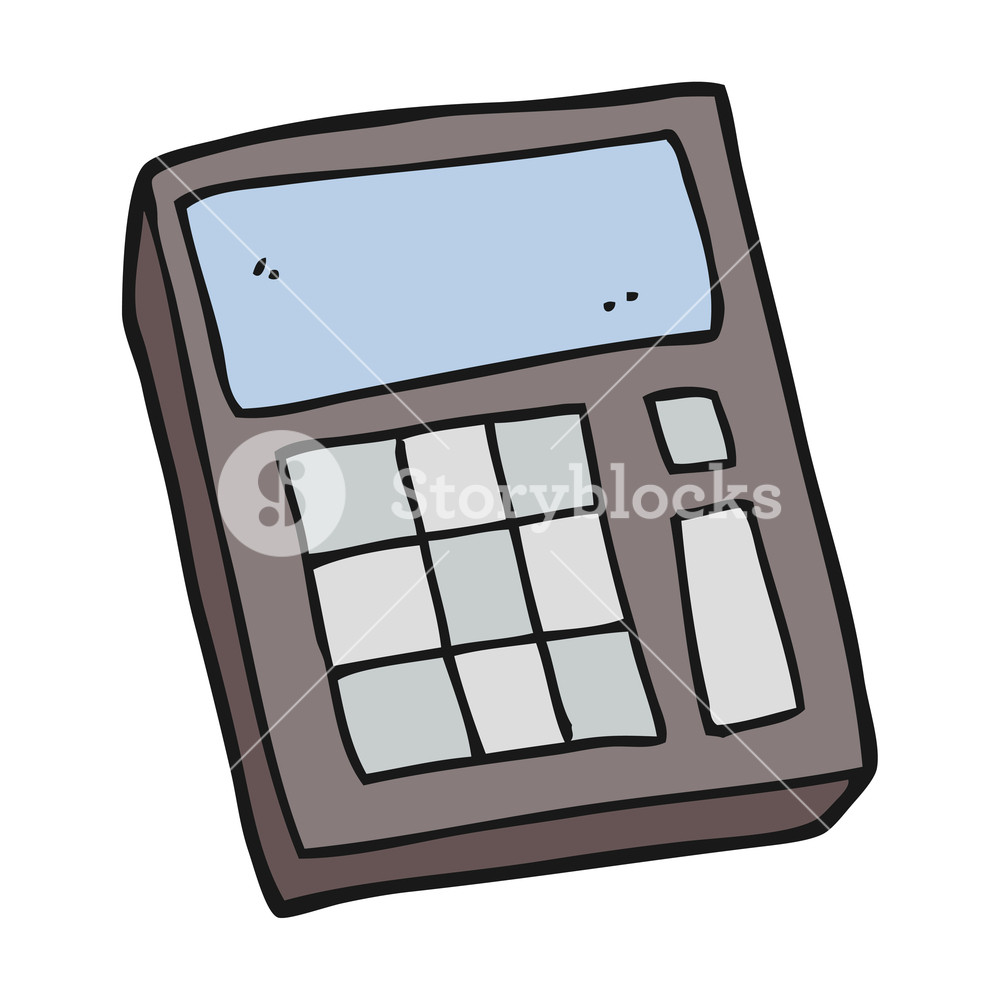 1000x1000 Freehand Drawn Cartoon Calculator Royalty Free Stock Image