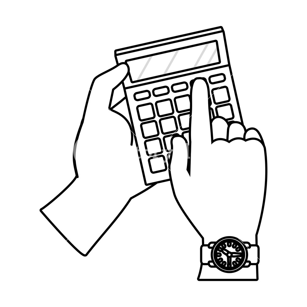 1000x1000 Human Hand Holding Calculator Cartoon Vector Illustration Graphic
