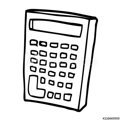 500x500 Line Drawing Cartoon Calculator