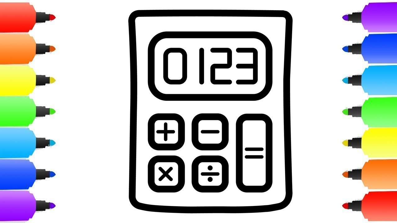 1280x720 Calculator Drawing Coloring For Kids Coloring Pages