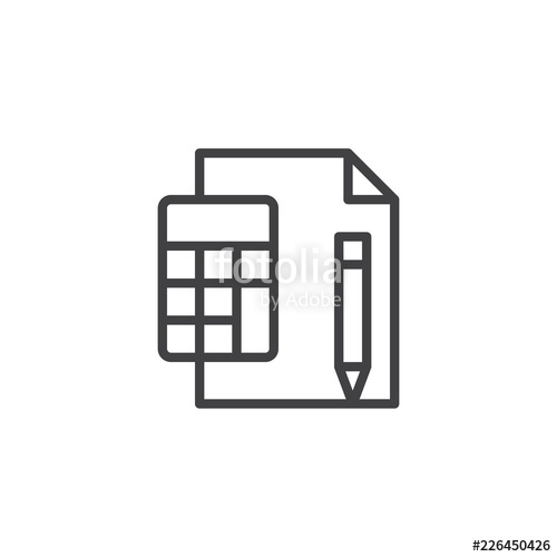 500x500 Calculator With Paper Sheet And Pen Outline Icon Linear Style