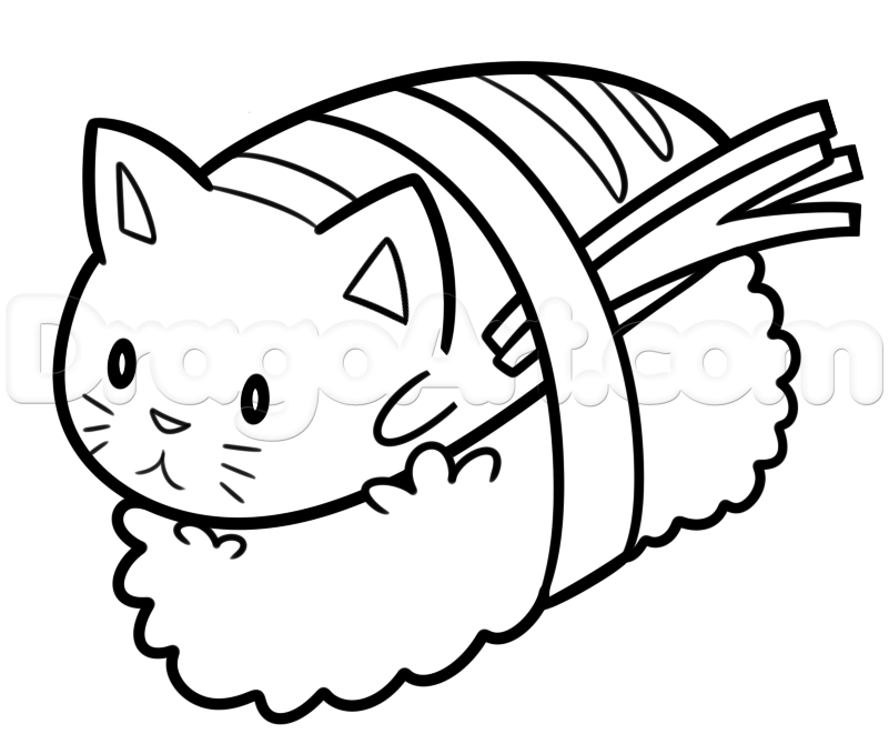 801x661 How To Draw Sushi Cat, Step