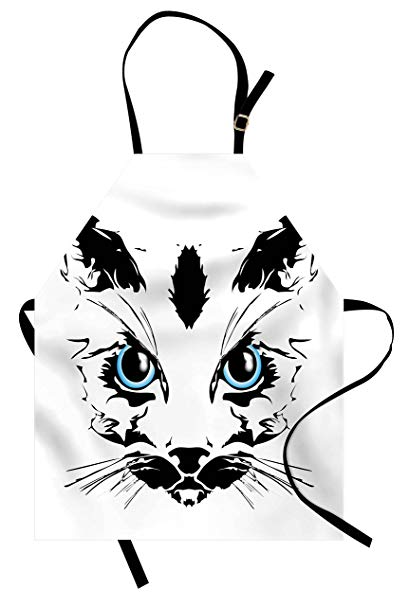 409x606 Ambesonne Animal Apron, Big Cat Face Pet Cute