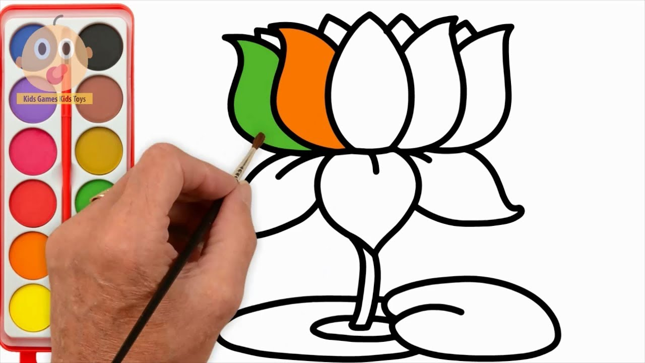 1280x720 How To Draw Lotus Learning Color With Flower Coloring Pages