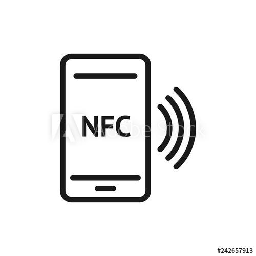 500x500 nfc smartphone signal linear icon nfc phone thin line