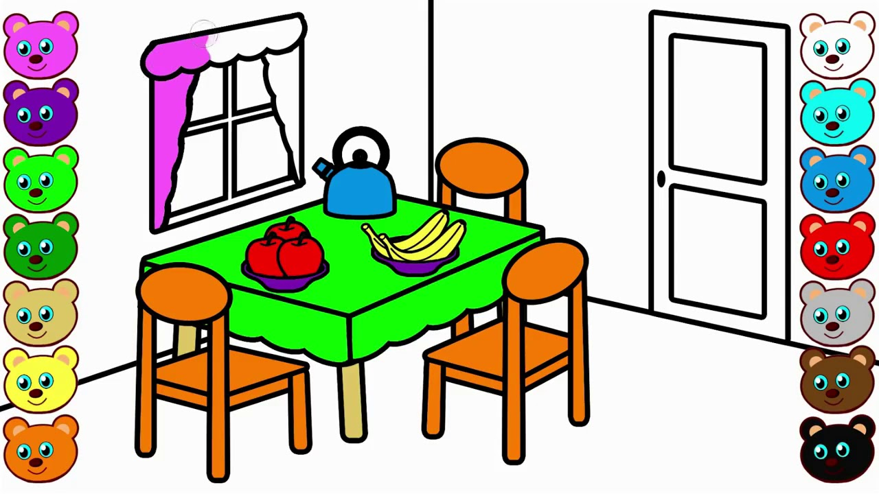 1280x720 coloring pages dining table and chairs l mirror l dining room
