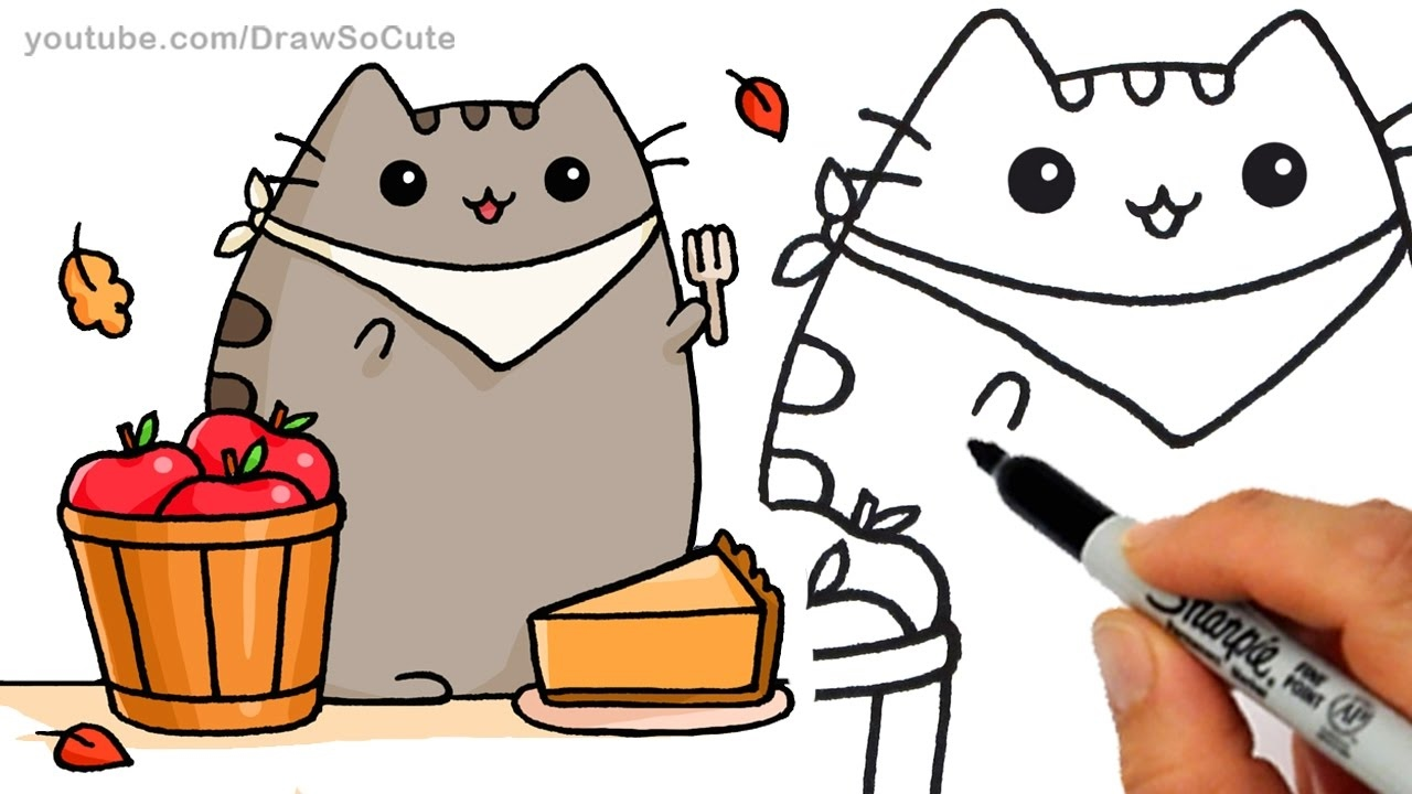 1280x720 How To Draw Autumn Pusheen Cat Eating Pie Step