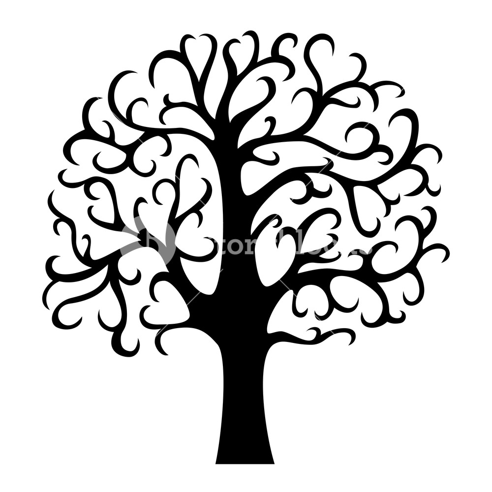 1000x1000 Family Tree Silhouette Life Tree Vector Illustration Isolated