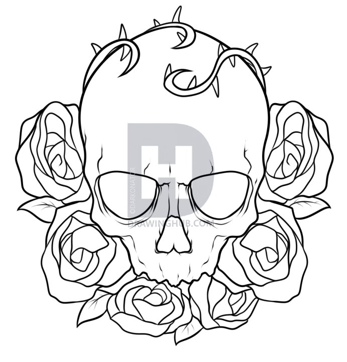 691x720 How To Draw A Skull And Roses Tattoo, Step