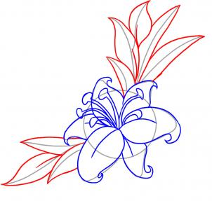 302x287 How To Draw A Flower Tattoo, Step