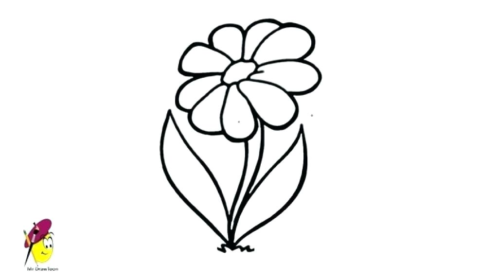1024x576 Simple Flower To Draw Flower Line Drawing