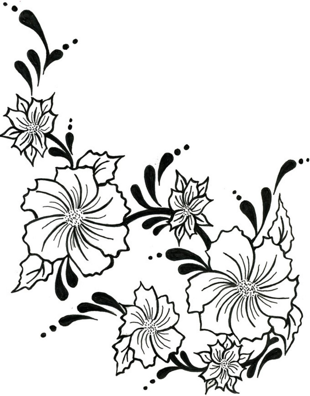 1020x1301 Flower Drawings In This Picture We Have A Vine Of Tattoo Flowers