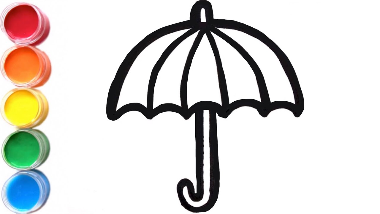 1280x720 Rainy Umbrella Drawing And Rain Coloring For Babies, Kids