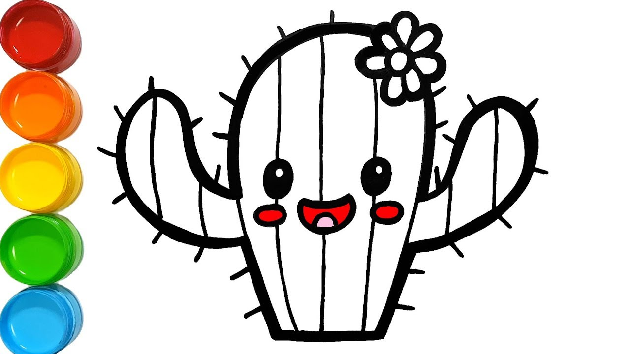 1280x720 Cute Cactus Coloring And Drawing Learn Colors For Kids Jolly Toy