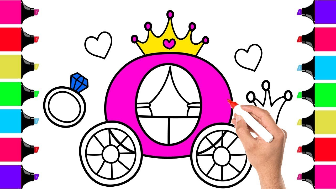 1280x720 colouring princess carriage how to draw princess carriage