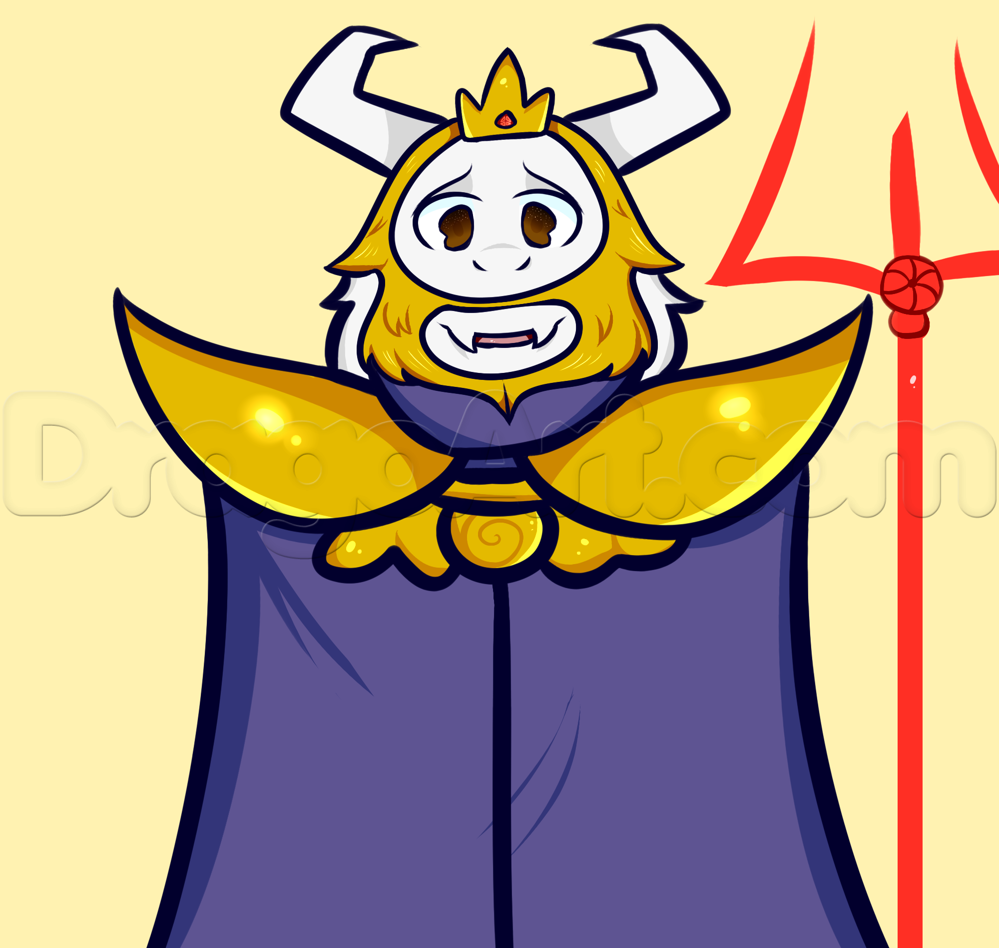 2000x1899 How To Draw Asgore From Undertale, Step