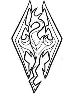 241x302 How To Draw Skyrim, Skyrim Logo, Step