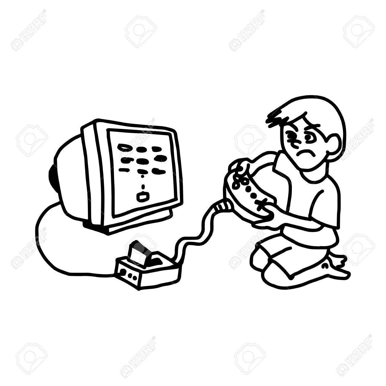 1300x1300 Boy Playing Video Game On Television Illustration Vector Doodl