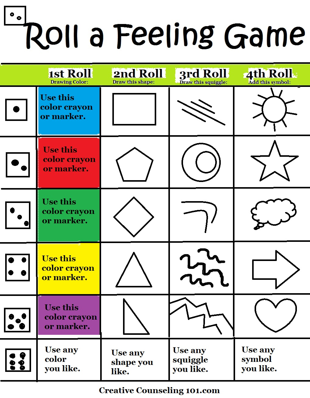 1018x1310 Art Therapy Roll A Feelings Game