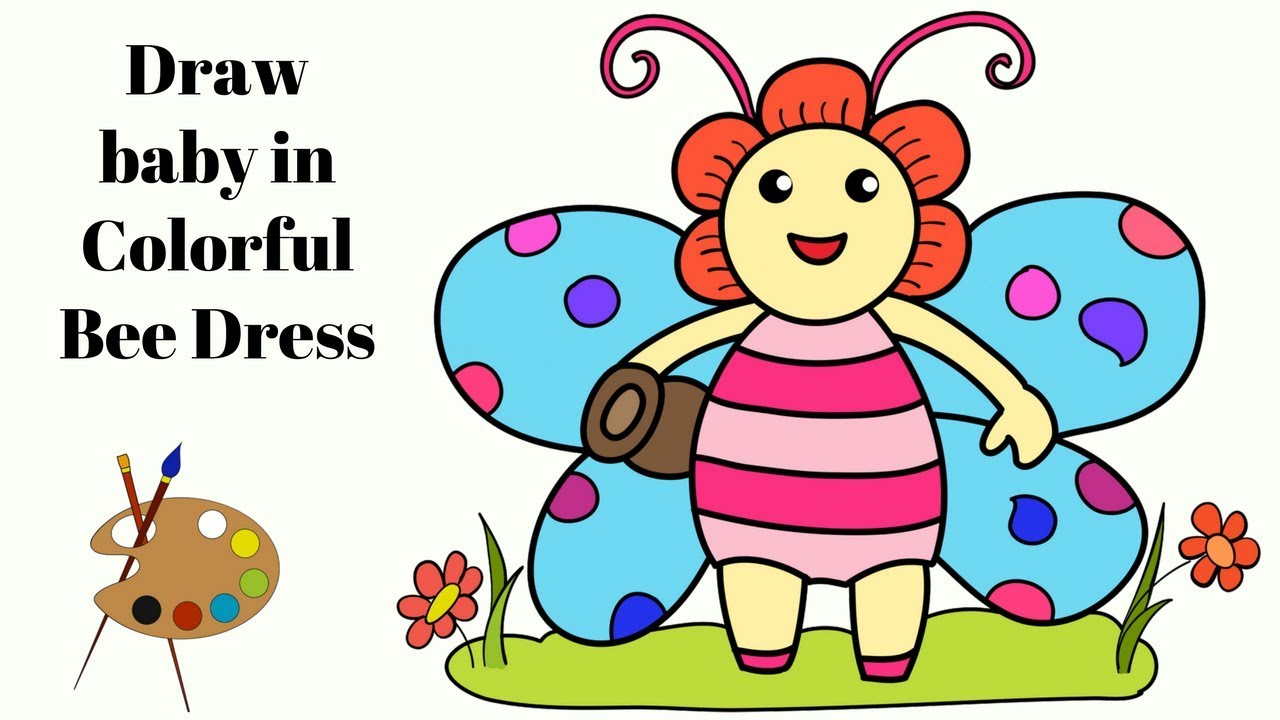 1280x720 Drawing Cartoon Girl Coloring Pages For Kids Girl In Bee Dress