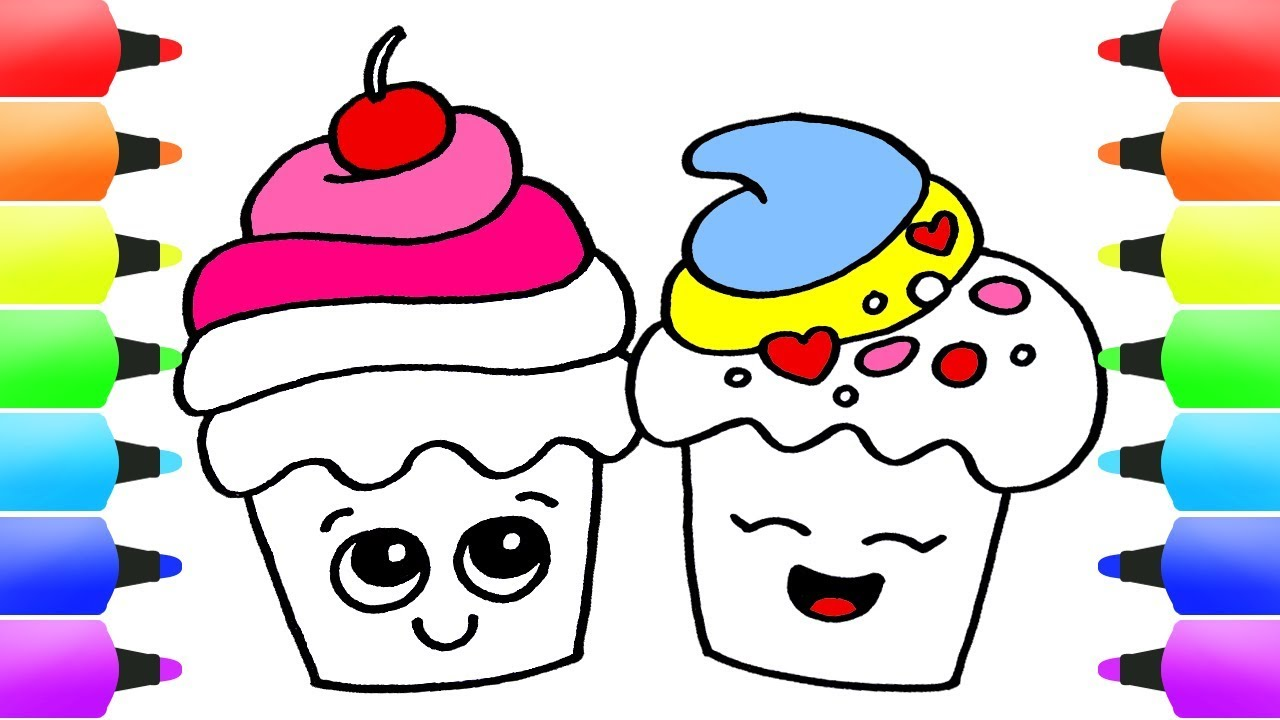 1280x720 How To Draw Cupcakes Easy Drawing Ideas For Kids! Delicious Cute