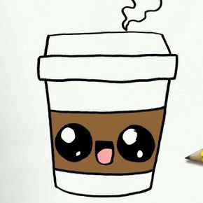 290x290 How To Draw A Coffee Cute Easy Step
