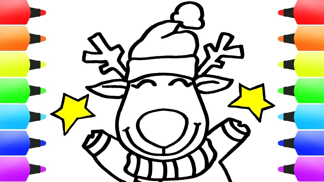 1280x720 How To Draw Christmas Stuff For Kids! Christmas Reindeer Xmas