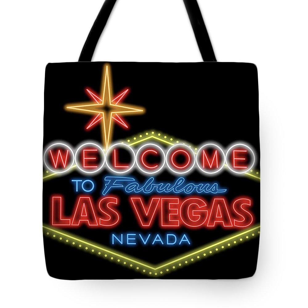 1000x1000 Welcome To Las Vegas Sign Digital Drawing Night Tote Bag For Sale
