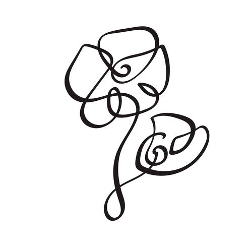 490x490 Continuous Line Hand Drawing Calligraphic Vector Flower Concept