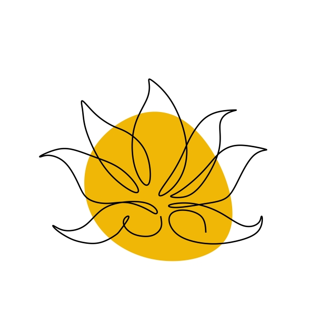 640x640 Lotus One Line Drawing Vector Floral Botanical Icon Logo