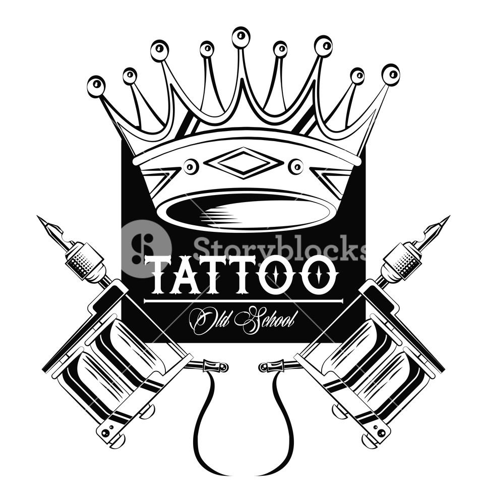 966x1000 Old School Tattoo Machines And Crown Drawing Design Vector