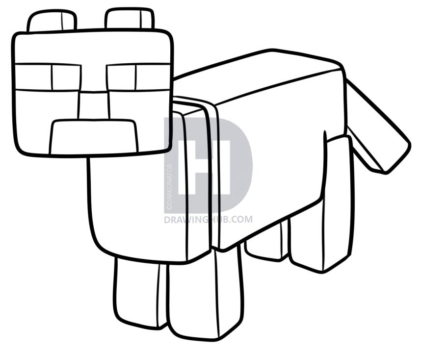 860x720 how to draw a minecraft ocelot, step