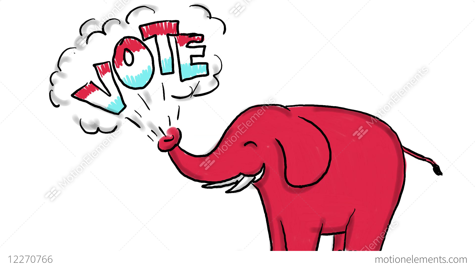 1920x1080 american elephant vote drawing animation stock animation