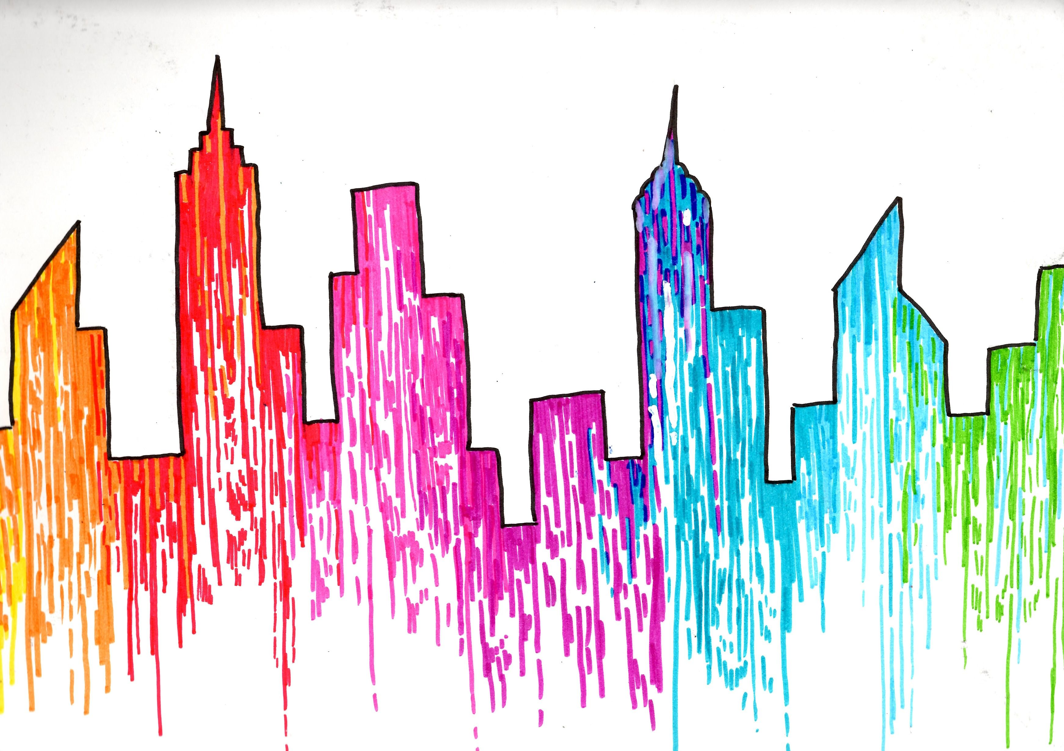 3485x2460 Huge Collection Of 'new York Skyline Drawing Color' Download More