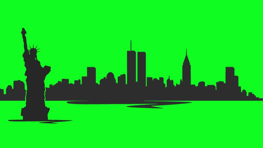 852x480 New York City Skyline Silhouette With Twin Towers