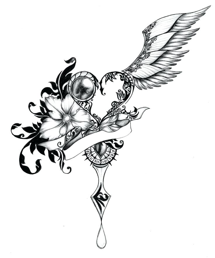 736x883 Drawing Of Hearts With Wings How To Draw A Heart With Wings