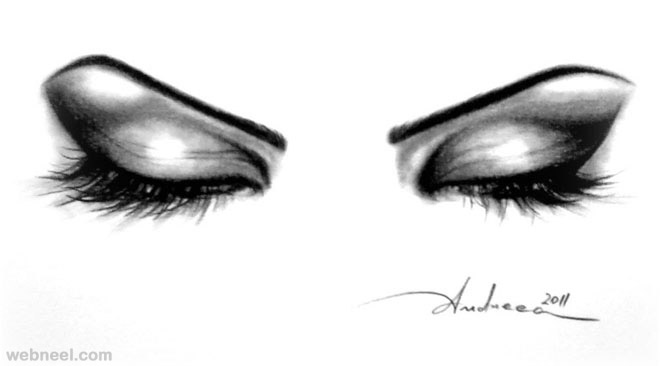 660x366 Eyes Closed Pencil Drawing